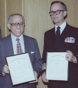 Following his services out of retirement in 1978 as liaison to the House Select Committee on Assassinations (HSCA), George Joannides (left) is awarded the Career Intelligence Medal from Deputy CIA Director Bobby Ray Inman, 15 July, 1981. (Photo credit: CIA)