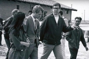 Photo courtesy of Mexican American Legal Defense and Educational Fund Robert F. Kennedy flanked by union organizers Dolores Huerta, left, and Paul Schrade, right. Huerta co-founded what would become the United Farm Workers. Schrade, also a union organizer, was one of five others wounded when RFK was assassinated in 1968.
