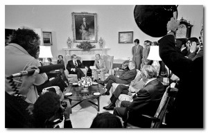 President Ford formally receives the Rockefeller Commission report, June 6, 1975. (Courtesy Gerald R. Ford Library)